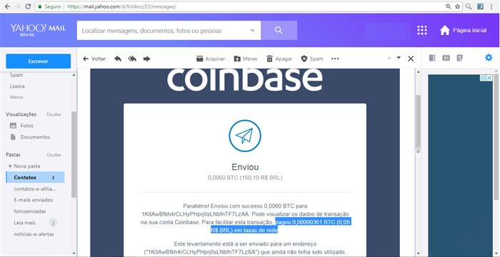 Transação do bitcoin: taxa da rede.