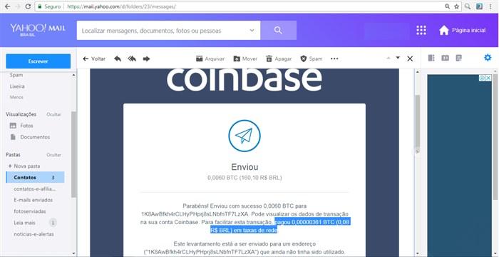 Taxa que a rede Bitcoin Core nos cobrou