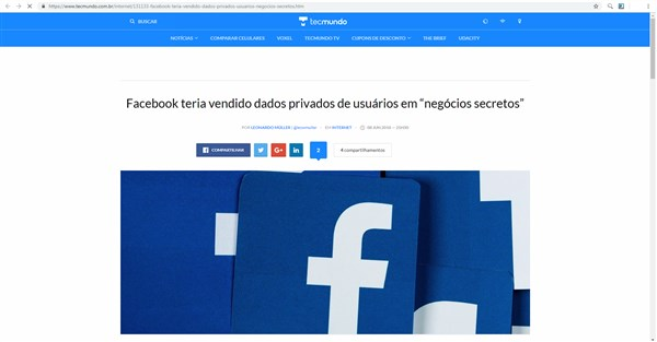 O facebook foi acusado de ter vendido dados dos seus usuários secretamente