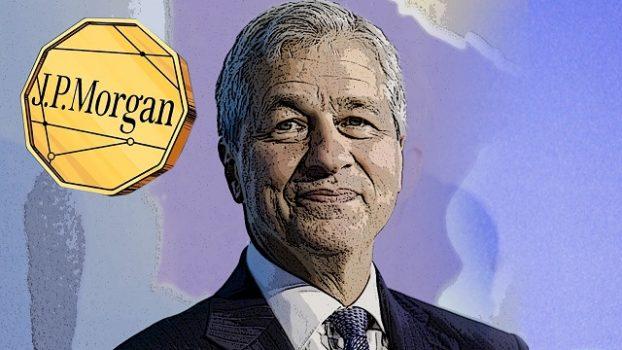 """Jamie Dimon, CEO da JPMorgan e a sua criptomoeda """"JPMCoin"""". Foto: guiadobitcoin.com.br"""