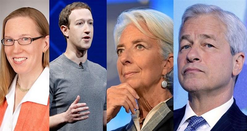 Da esquerda para direita: Hester Peirce, Mark Zuckerberg, Christine Lagarde e Jamie Dimon – os maiores vira-casacas das criptomoedas!