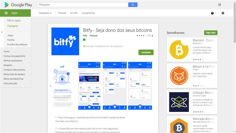 Carteita Bitify no Google Play