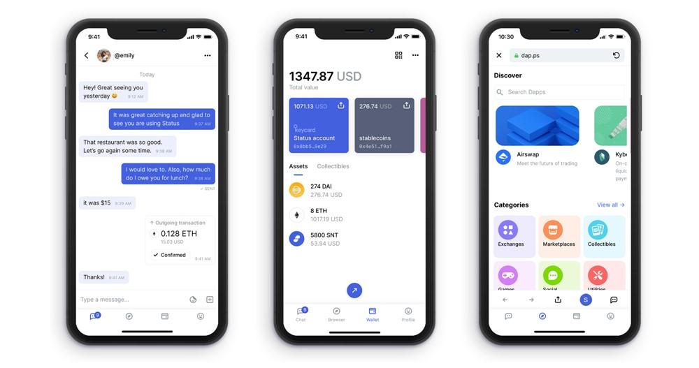 Status: Aplicaivo de mensagens, wallet e exchanger descentralizada. Privacidade total!