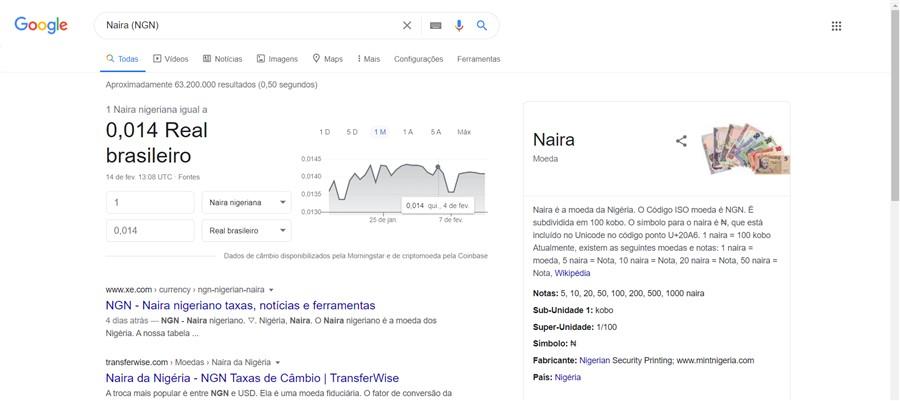 Naira (NGN) moeda da Nigéria vale 5 satoshis.