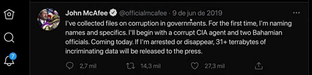 Twitter de John McAfee!
